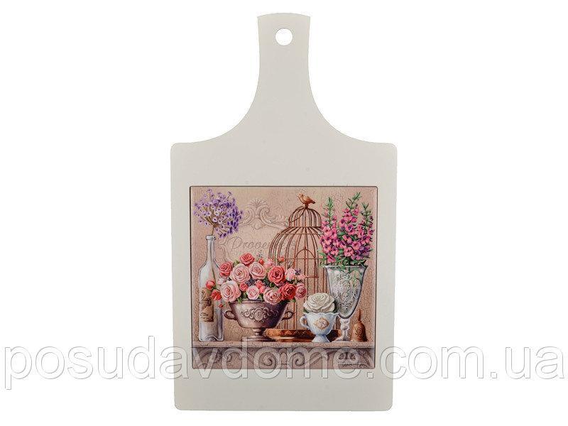 """Досточка """"Цветочный рай"""" керамика+дерево 21,5х17,5 см, Lefard, 072-029"""