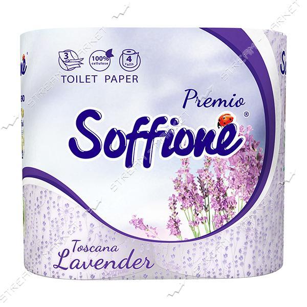 Туалетная бумага SOFFIONE Tosсana Lavender 3 слоя Белая 4 шт