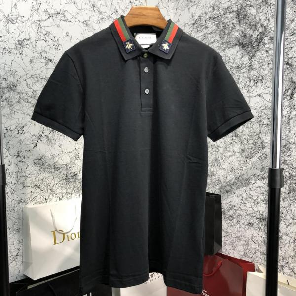 Gucci Cotton Polo with Web and Bee Black