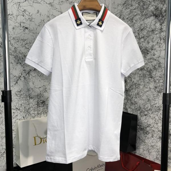 Gucci Cotton Polo with Web and Bee White
