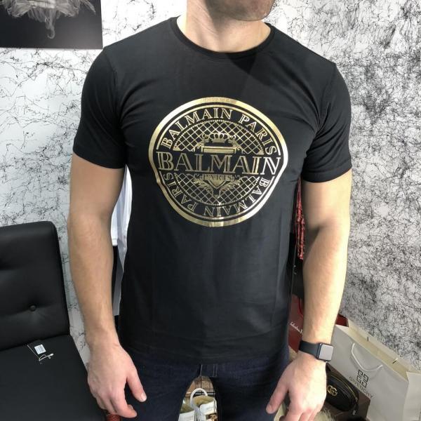 Balmain T-Shirt With Print Logo Black/Gold
