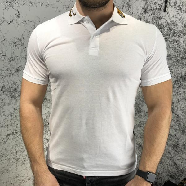 Gucci Cotton Polo with Tiger Embroidery White