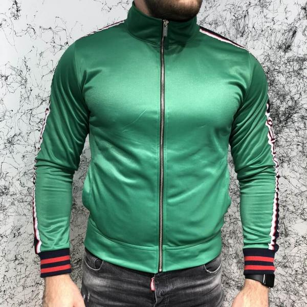 Gucci Technical Jersey Jacket with Gucci Stripe Green