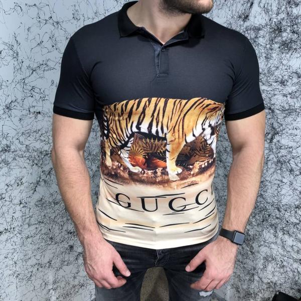 Gucci Polo Tiger Scene Black