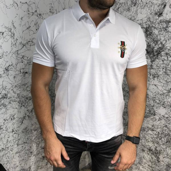 Gucci Cotton Polo with Web Crest Tiger White