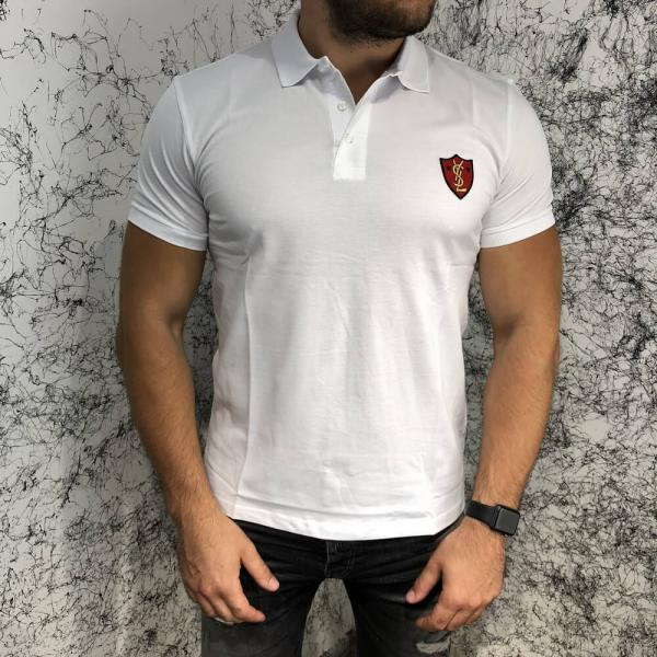YSL Cotton Polo Pique Band White