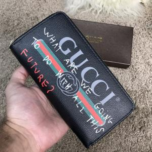 Фото Портмоне и кошельки Gucci Print leather Future Zip Around Wallet Black