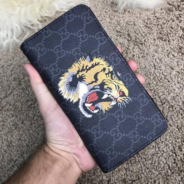Gucci Wallet Tiger GG Supreme Black Zip Around