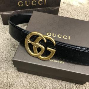 Фото Ремни и пояса Belt Gucci with Double G Buckle Snake Ostrich Black