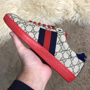 Фото  Gucci GG Supreme Web Sneaker Beige/Red