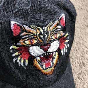 Фото  Baseball Hat Gucci Web GG Supreme Angry Cat Black
