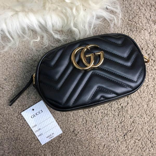 Gucci GG Marmont Matelassé Belt Bag Black