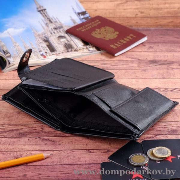 Фото Галантерея, Кошельки, Мужские кошельки Портмоне мужское 3 в 1, для автодокументов, для паспорта, 2 отдела, для монет, для карт, цвет чёрный