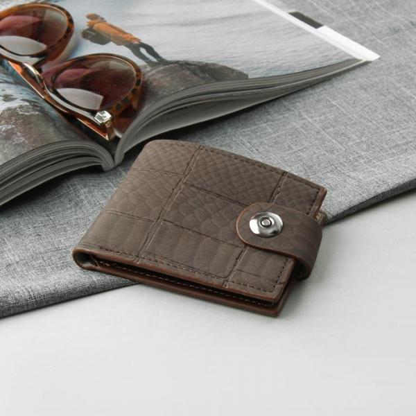 Портмоне мужское, 3 отдела, для карт, для монет, цвет коричневый