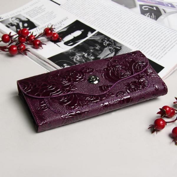 Кошелёк женский, 7 отделов, для карт, на клапане, наружный карман, цвет фиолетовый