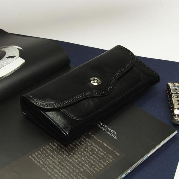 Кошелёк женский, 6 отделов, отдел для кредиток и монет, цвет чёрный