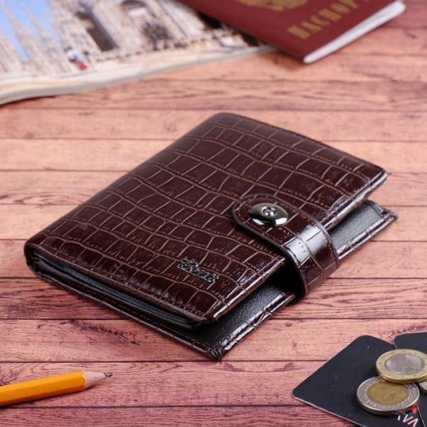 Портмоне мужское 3 в 1, для автодокументов, для паспорта, 2 отдела, для монет, для карт, цвет кофе