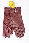 Женские кожаные перчатки (бордо)
