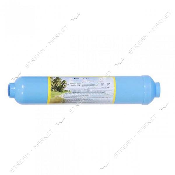 Линейный постфильтр AquaKut бактерицидный с кокосовым углем активированный серебром Т-33 Т3
