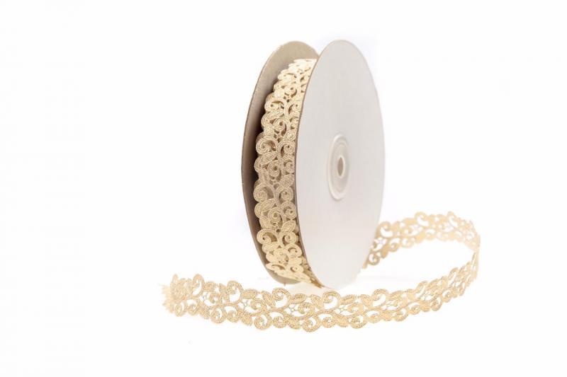 Тесьма декоративная Вьюнчик ширина 20 мм. Золотого  цвета.