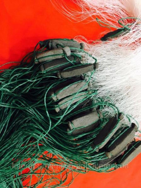 Фото Сети рыболовные Сетка одностенная из лески,грузик вшитый 5х100м Ø75мм