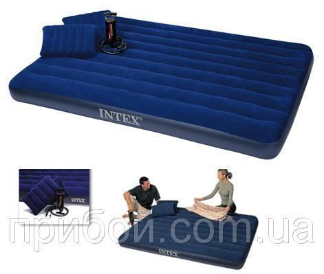 Двухместный надувной матрас Intex + 2 подушки и насос 152х203х22 см