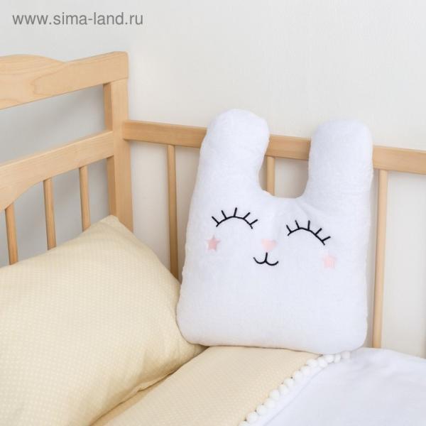 """Подушка """"Этель"""" Зайчонок белая, с вышивкой, 100% П/Э, велсофт"""