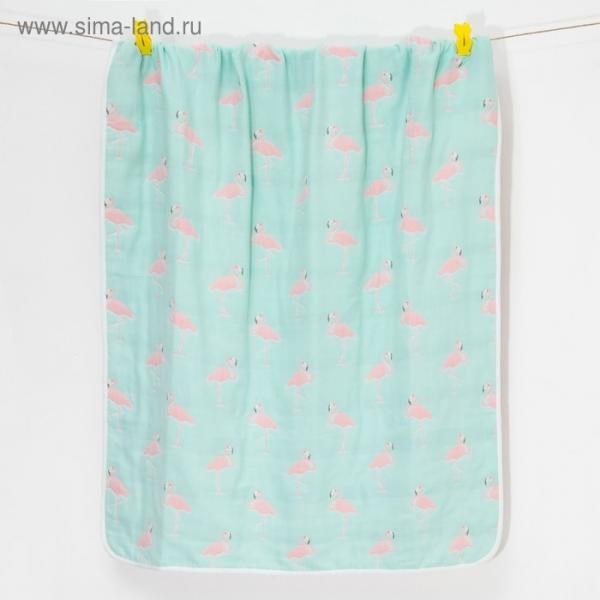 Одеяло лёгкое Крошка Я Фламинго 105*108 см, муслин шестислойный, 100% хлопок