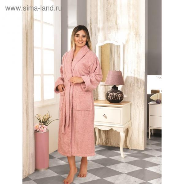 Халат махровый Basic, размер XL (48), цвет грязно-розовый, 420 г/м2