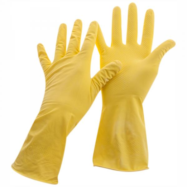 Перчатки резиновые хозяйственные OfficeClean Стандарт+,супер прочные,р. S,M,L,XL, желтые, пакет с европодвесом