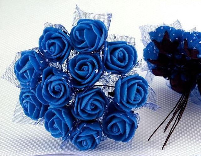 Фото Цветы искусственные Роза  латексная  2 см ,  Синяяя  с  фатином.   1 упаковка  12 шт.
