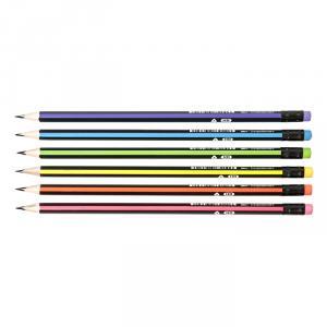 Фото Письменные принадлежности (ЦЕНЫ БЕЗ НДС), Карандаши простые, наборы цветных карандашей Карандаш inФОРМАТ чернографитный NEON, трехгранный корпус, заточенный, HB с ластиком