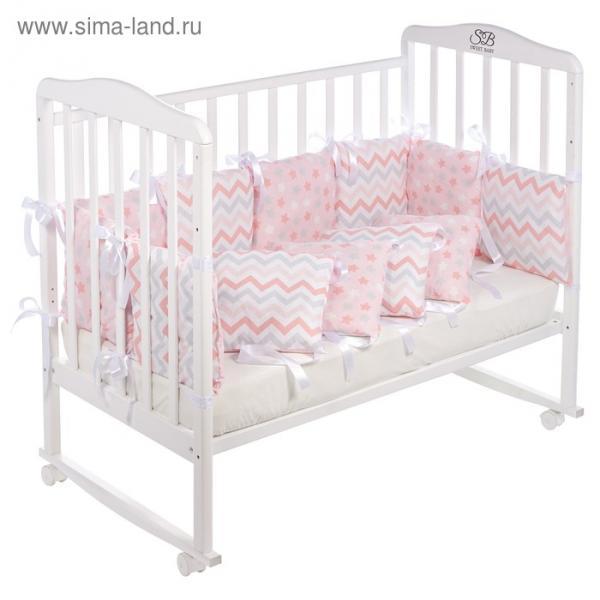 Бортики Colori, размер 30 х 30 см, 12 штук, розовый, бязь