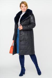 Фото  Пальто женское зимнее с меховым воротником
