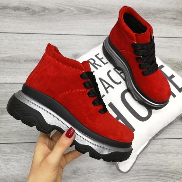 Ботинки _Слава_, нат. замш красные и бордо красный