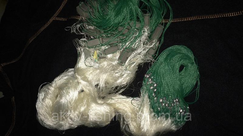 Фото Рыболовные сети; одностенки, трехстенки; экраны, финки ;косынки, куклы; полотна; ятеря; раколовки,, сеть рыболовная,трёхстенка ,из нитки,высота 1.6м x 30м,ячейки от 30-60 Сеть рыболовная трехстенка нитка 1.6 высота 30м, ячейка 25