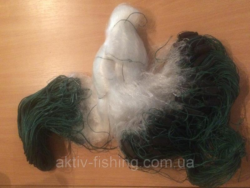 Сеть рыболовная, одностенка,леска,100м x 5м,вшитый груз, ячейка 80