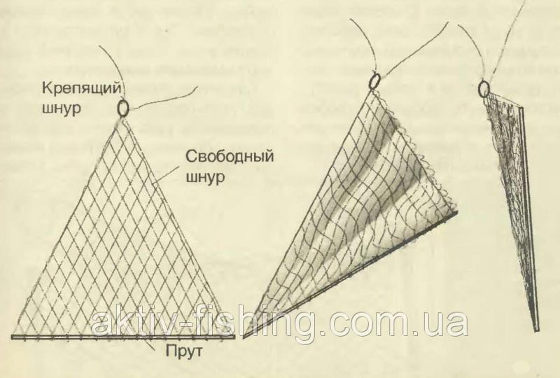 Фото косынка рыболовная, оснащённая, 1.5 x 1.5 x 1.5, ячейки от 18-50 Косынка рыболовная, оснащенная,из лески, ячейка 45
