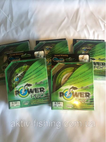 Шнур плетённый power pro, зелёный, 135м, сечение 0.16