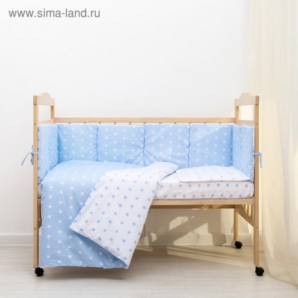 """Комплект в кроватку 6 пр. """"Подушечки"""" (борт из 4-х частей), цвет голубой, бязь хл100%"""
