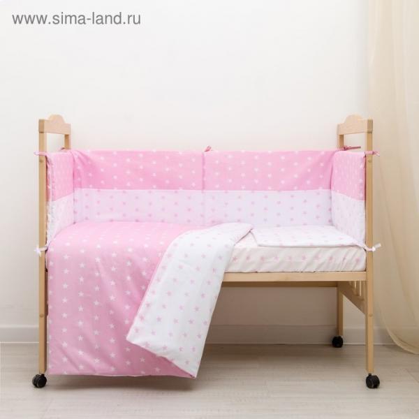 """Комплект в кроватку 6 пр. """"День и ночь"""" (борт из 4-х частей), цвет розовый, бязь хл100%"""