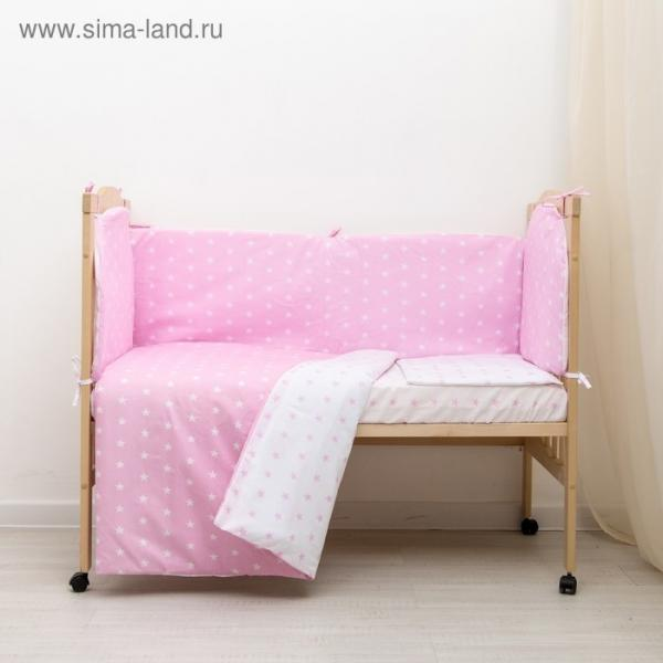 """Комплект в кроватку 6 пр. """"Мечта"""" (борт из 4-х частей), цвет розовый, бязь хл100%"""