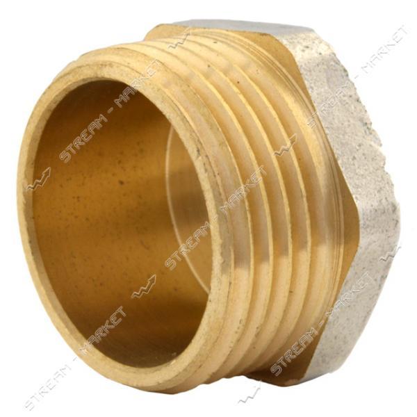 Заглушка N08769 латунь 3/4'Н под пломбу никелированная (штамповка)