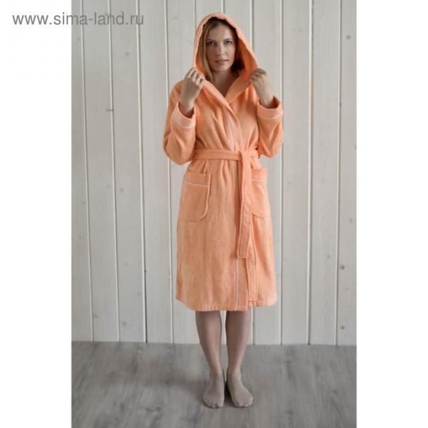 Халат женский с капюшоном, размер 52, персик, махра