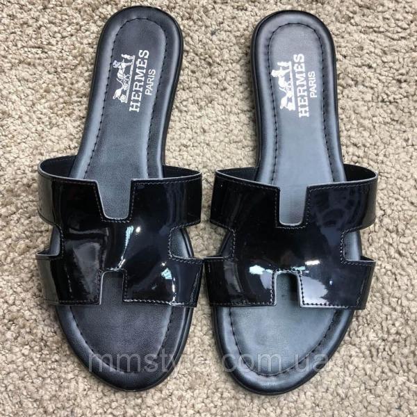 Hermes Slide Sandal Oran Patent Black
