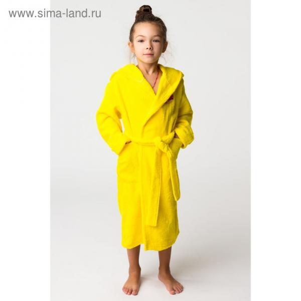Халат махровый детский Пончик, размер 36, цвет жёлтый, 340 г/м² хл. 100% с AIRO
