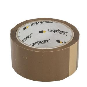 Лента упаковочная inФОРМАТ 50ммХ66м, 40мкм, коричневая, прозрачная