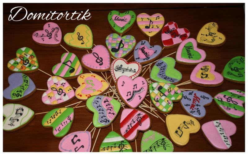 Пряники ноты (сердечки)