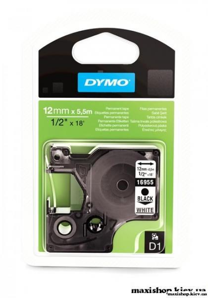 Лента пластиковая системы D1 12мм х 5,5м DYMO черный/белый S0718060/16959