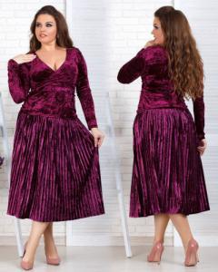 Фото Одежда Турция Женский бархатный костюм с юбкой